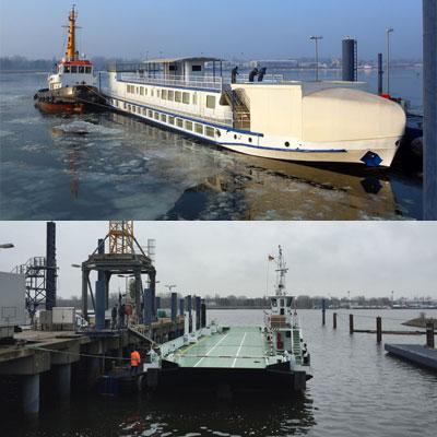 """Forschungsschiff """"Lichtenberg"""" und Fähre """"Breitling"""" verlassen die Werft"""